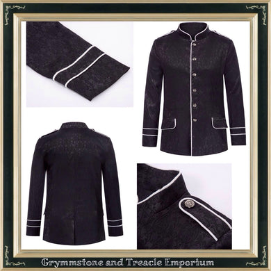Military Drummer Men's Jacket in Black Brocade with Contrast White Braid Piping
