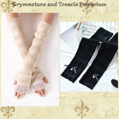 Long Lycra Gloves - Cream with Trim or Black with Ribbon and Pearl