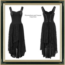 Bohemiam style dress with faux leather buckle straps and asymmetrical hem in black