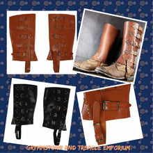 Faux leather gaiters spats with buckles in brown or black