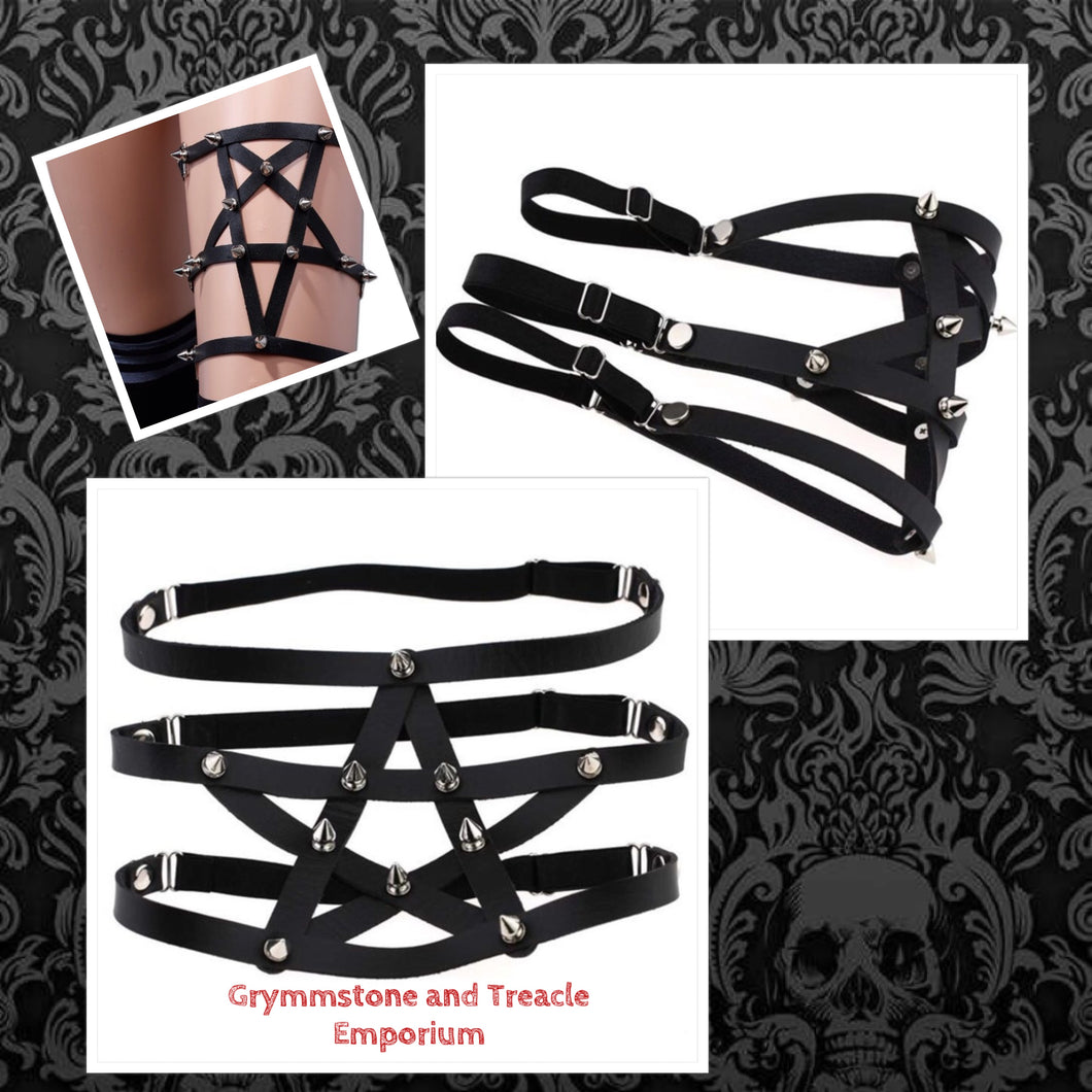 Cyberpunk Gothic adjustable spiked pentagram leg garter in PU Leather
