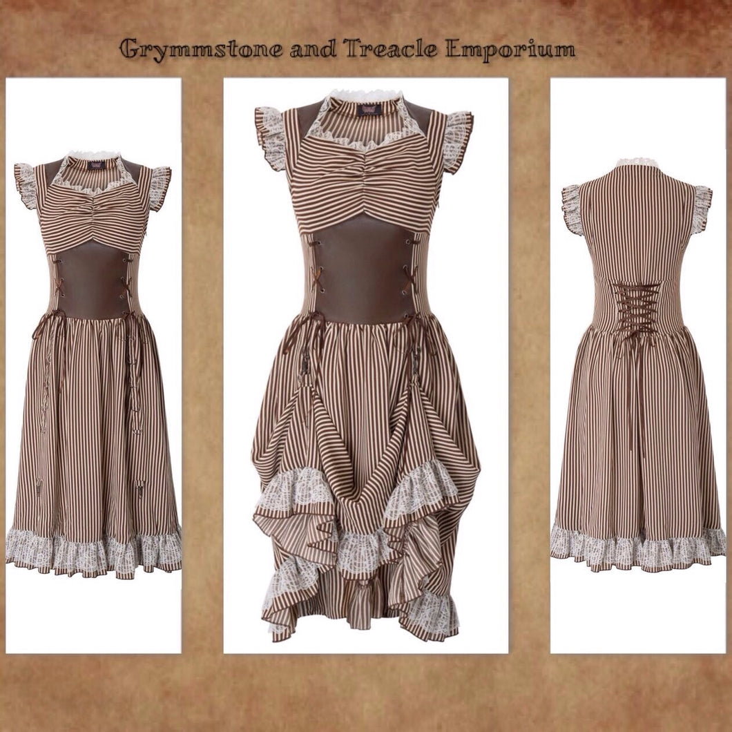 A steampunk dress in fawn and white stripes, with faux leather panel on bodice. white lace ruffles with collar, the cap sleeves and hem of the skirt. Able to be ruched up at the front for a bustle effect. corsetting on the back for a tailored fit