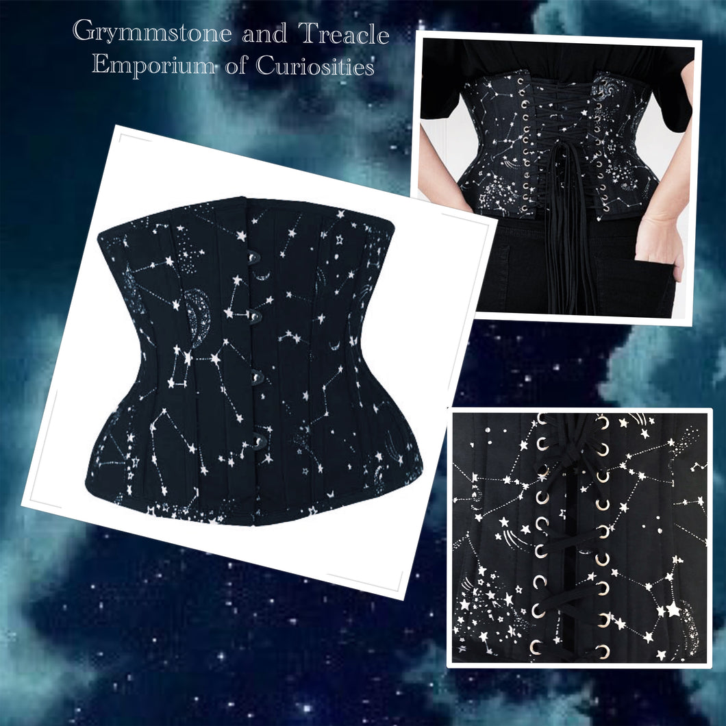 Andromeda Black and White Star Print Underbust Corset