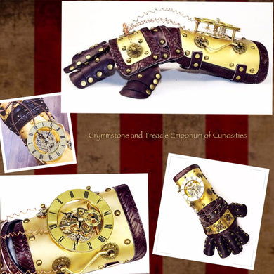 Regalia Steampunk Clockwork Arm Bracer Glover with movable clockwork dials and mace of PU leather and metal dials, cogs and wire