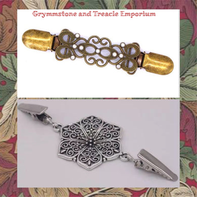 Cardigan jacket clips in silver filigree flower and antique bronze