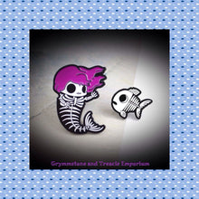Gothic Mermaid amd Fish Skeleton Pin Set