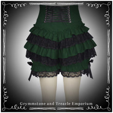 back of the forest green and black ruffle bloomers