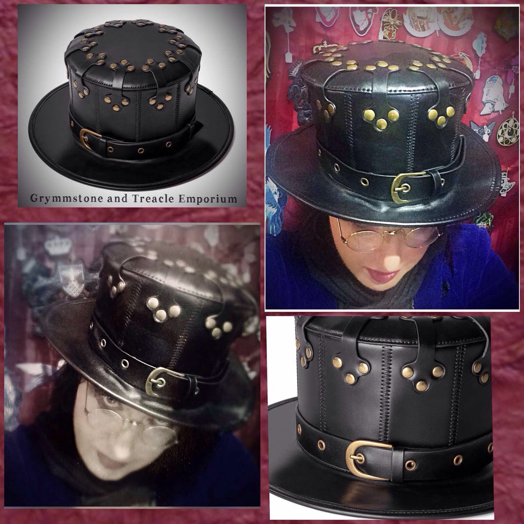 Riveter Steampunk Dieselpunk PU Leather and Brass Rivets Hat