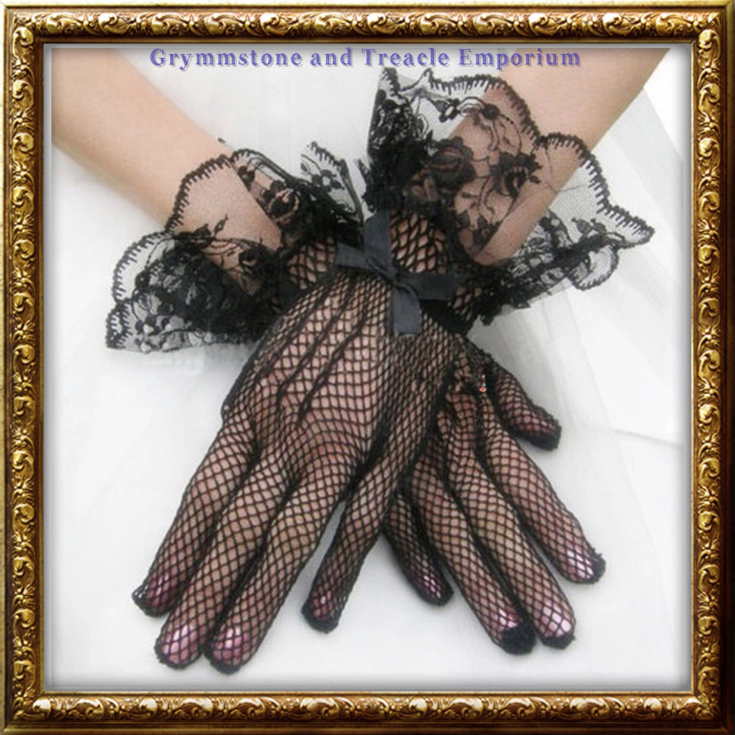 Fishnet and lace gloves