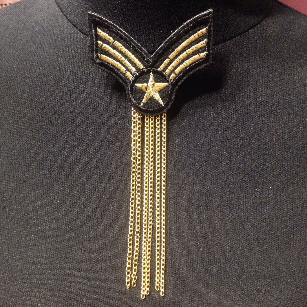 Military Patch badge with Gold Chain
