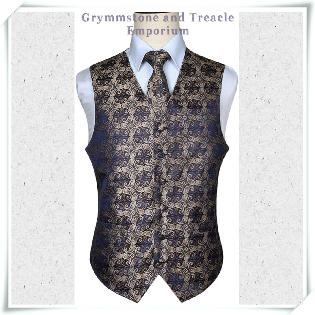 Silk Brocade Waistcoat Set with Tie and Pocket Square
