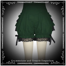 Forest green ruffle bloomers with black lace ruffles