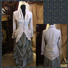 Bellagio Poet's Blouse in Cloud Grey worn over a Willow Striped Adjustable Bustle Skirt in Charcoal and White