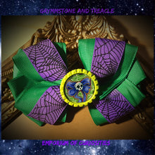 Handmade Hair Bow - Ghoul on Purple Spiderweb Ribbon and Green Ribbon
