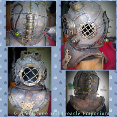 Deep Sea Diving Helmet - Handmade with Brass and Verdigris Paint Finish