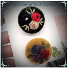 Velvet embroidered button Brooches.