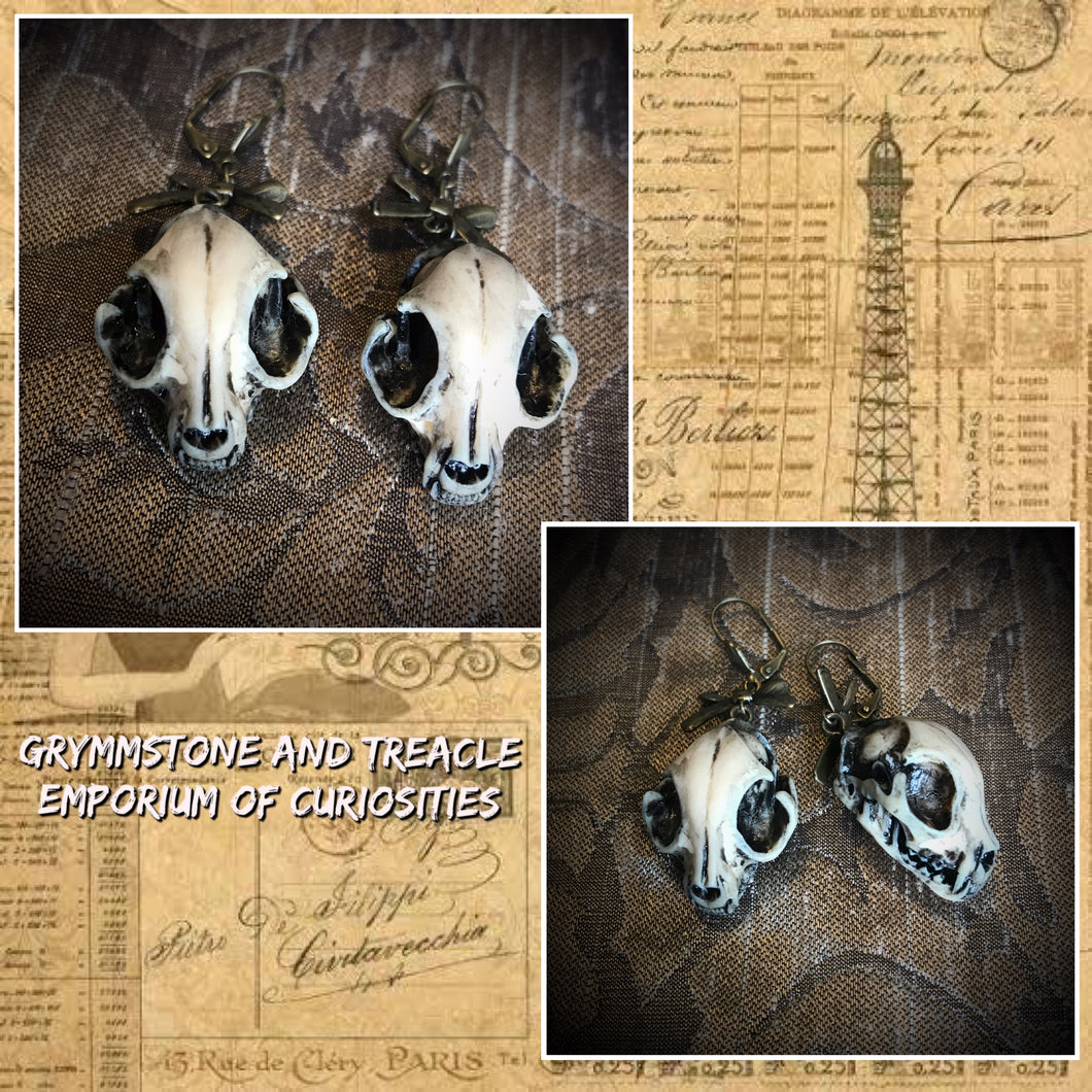 Cat Skull Faux Taxidermy Gothic Earrings