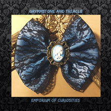 Blue and White Skull Cameo with Black Lace and Blue Ribbon Handmade Hair Bow