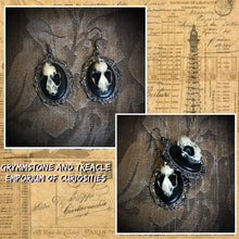 Bathory Bat Skull Cameo Earrings Victorian Gothic