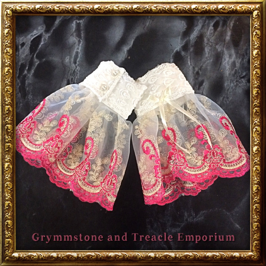 Lace Cuffs - Cerise and White