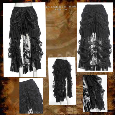 Electra Black Lace and Chiffon Gothic Bustle Overskirt