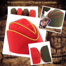 Garrison Caps in Red with Yellow Piping and Khaki with Red Piping for Steampunk, Vintage and Cosplay