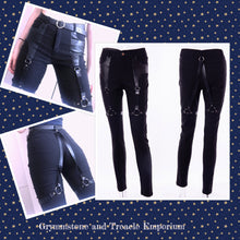 Nocturne Gothic Stretch Harness Jeans with PU Leather and Adjustable Straps
