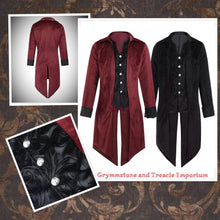 Ringmaster Tailcoat in velvet with embossed velvet faux vest and turn back cuffs