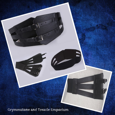 Ironside PU Leather Cinch Belt iin Black with Elastic Stretch Back