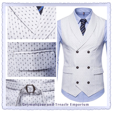 Waistcoat - Double Breasted White with Fleck