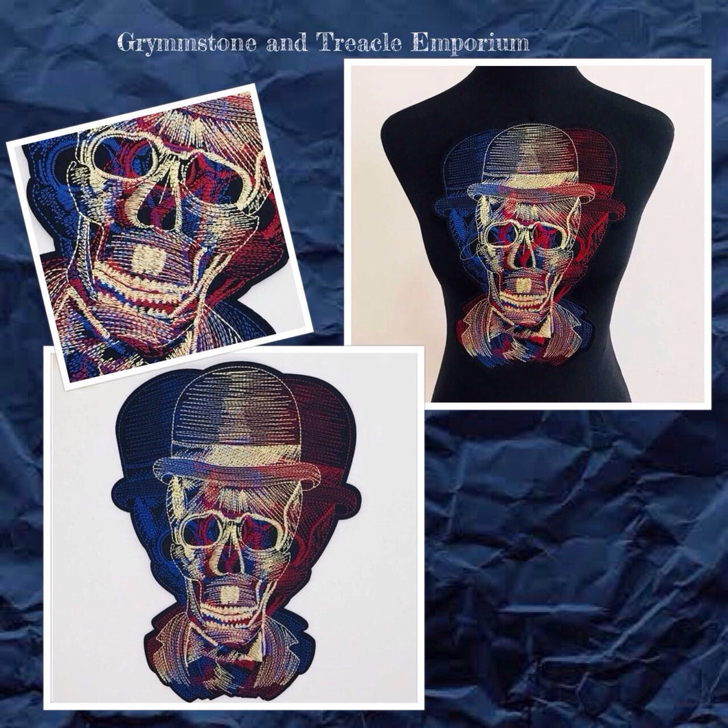 Dapper skull with bowler hat iron-on embroidery