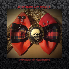Punk Hairbow in Tartan, Black and Red Petersham Ribbon with Skull Cameo and Safety Pins