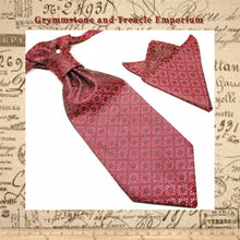 Garnet Diamond Vintage Style Pre-Tied Cravat and Pocket Square