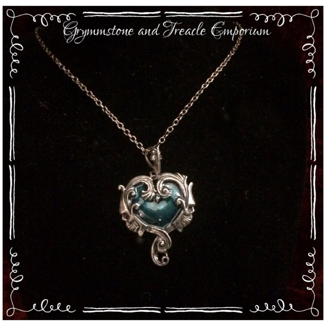 Gothic Skull and Green Enamel Heart Pendant
