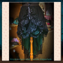 Deep Forest Green Taffeta and Black Soft Tulle and Lace Steampunk High Low Skirt