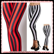 Striped leggings in red and black or white and black