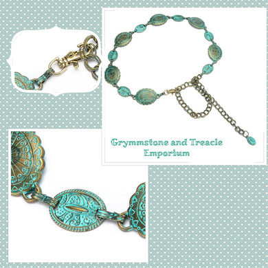 Brass Verdigris Pendant and Chain Belt