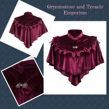 Florentine Velvet and Lace Gothic Steampunk Cape in Wine