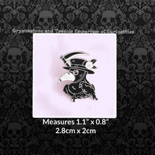 Plague Doctor Pin with Scythe and Raven in Black and White