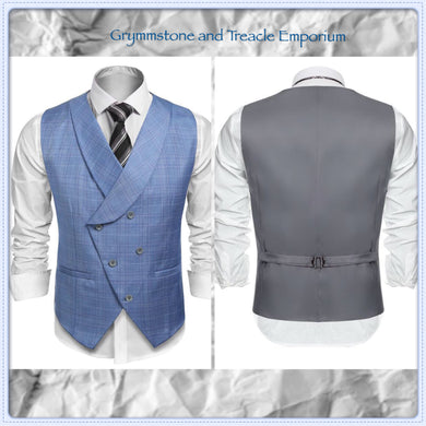 Blue plaid double breasted Waistcoat with Lapels