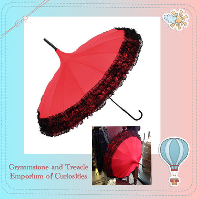 Red Pagoda Parasol Umbrella with Black Lace Trim