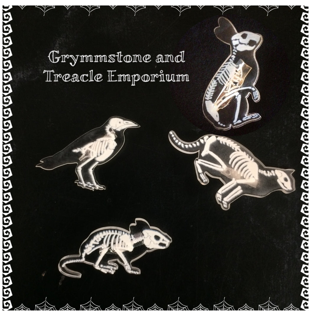 Adorable brooches laser cut from clear acrylic, each with the skeleton of either a rabbit, rat, crow or cat.