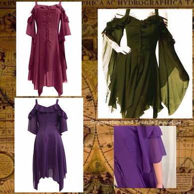 Sable Bohemian Gothic Cold Shoulder Chiffon Dress in Amethyst, Moss, and Wineberry