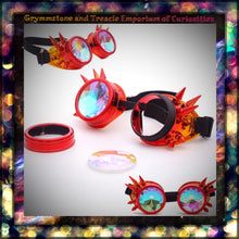 Red Flame Fire Chameleon Spiked Raver Goggles with Kaleidescope Lenses