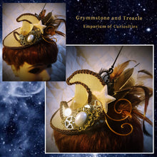 Round Steampunk Luna Fascinator with Crescent Moon and Cogs
