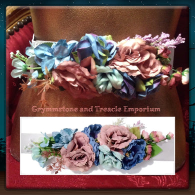 Boho Floral Belt in blues and dusky pinks