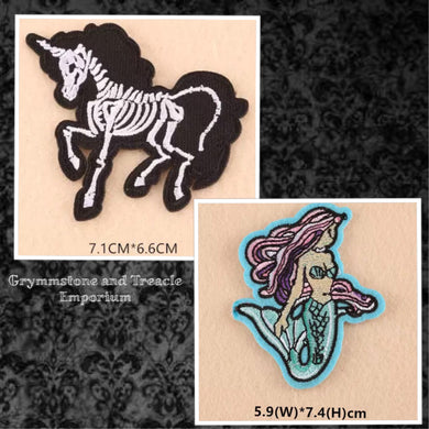 Unicorn Skeleton and Mermaid Patches