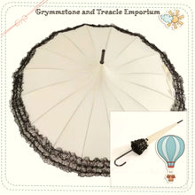 Cream Parasol Pagoda Umbrella with Black Lace Ruffle on Edge