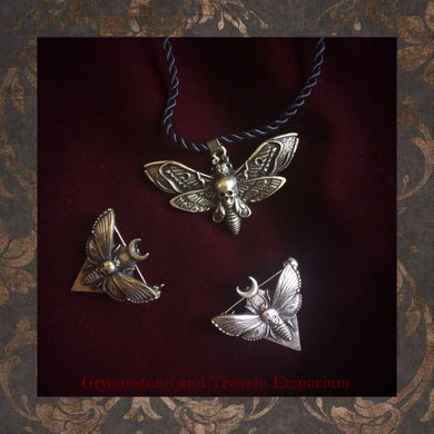 Gothic Deathmoth Pendant and Brooches in an antique silver and antique brass finish