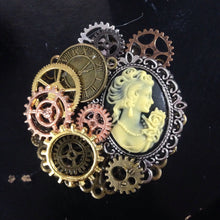 Cameo Steampunk Filigree Brooches and Cog Brooches